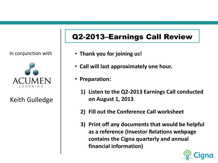 Q2-2013–Earnings Call Review