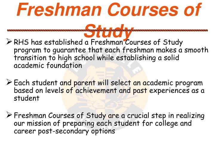 Freshman Courses of Study