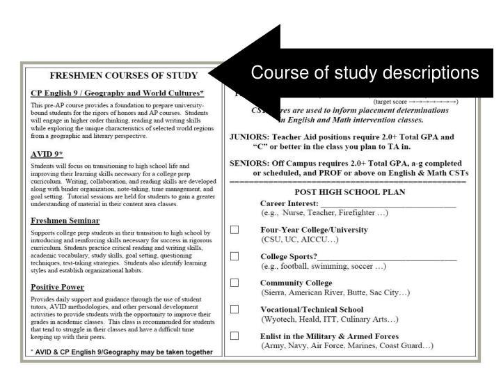 Course of study descriptions