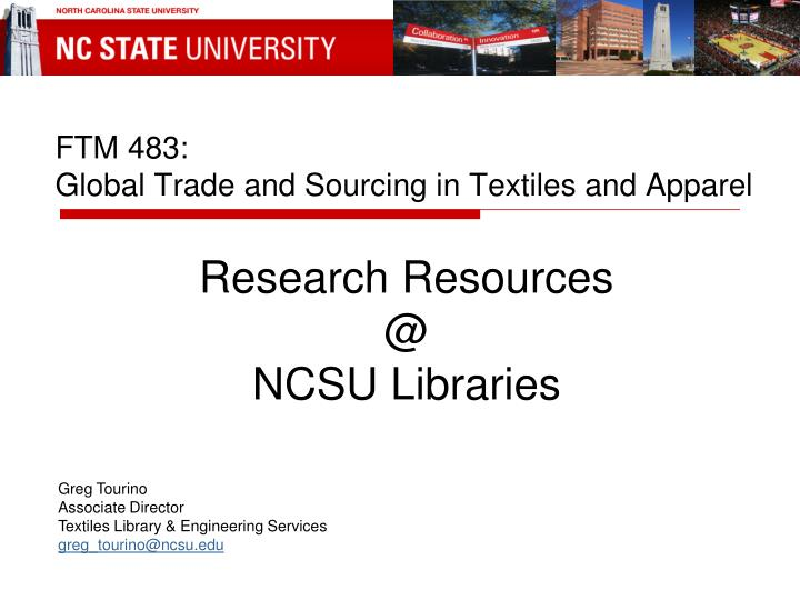ftm 483 global trade and sourcing in textiles and apparel n.