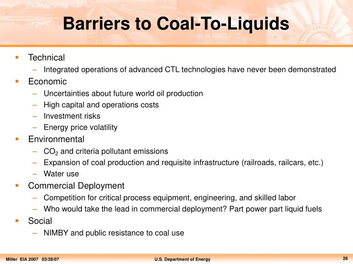 Barriers to Coal-To-Liquids