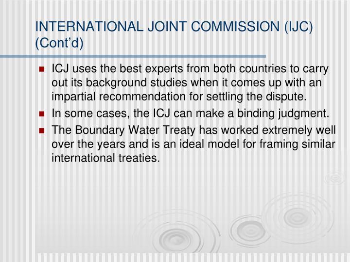 INTERNATIONAL JOINT COMMISSION (IJC) (Cont'd)