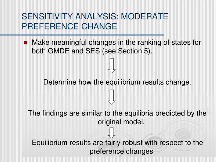 SENSITIVITY ANALYSIS: MODERATE PREFERENCE CHANGE