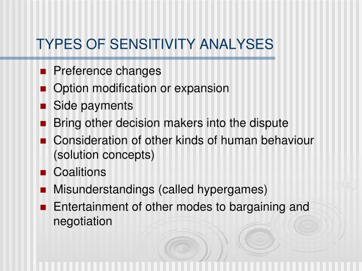 TYPES OF SENSITIVITY ANALYSES