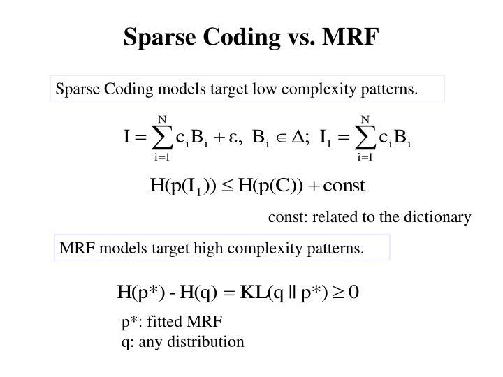 Sparse Coding vs. MRF