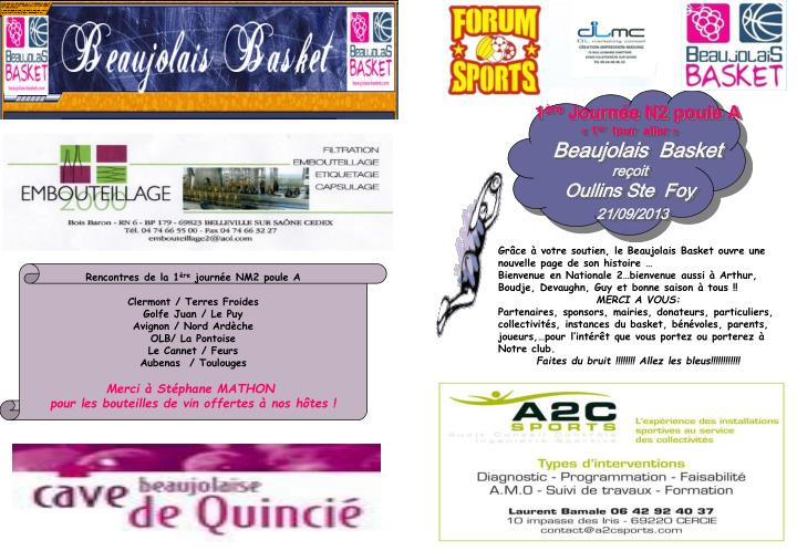 1 re journ e n2 poule a 1 er tour aller beaujolais basket re oit oullins ste foy 21 09 2013 n.
