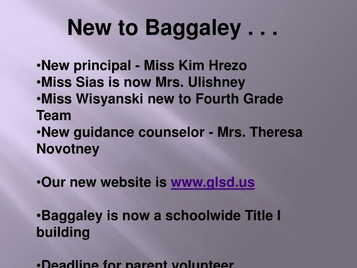 New to Baggaley . . .
