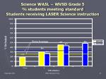 science wasl wvsd grade 5 students meeting standard students receiving laser science instruction