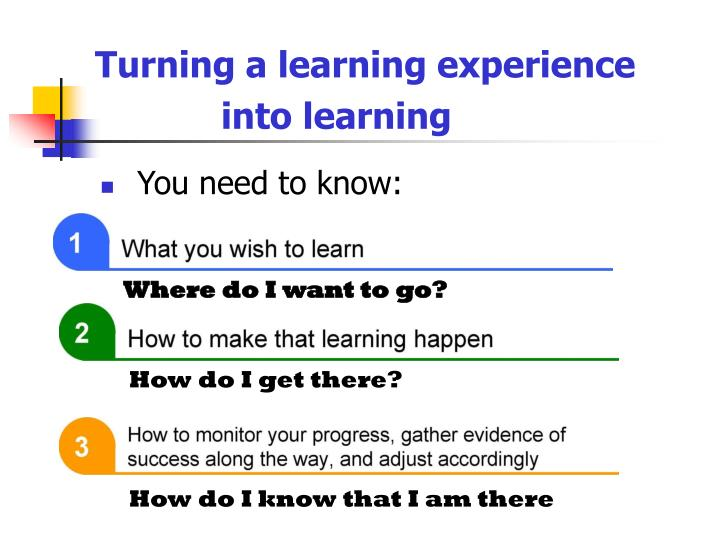 Turning a learning experience