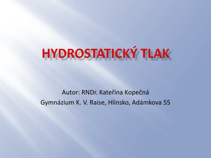 hydrostatick tlak n.