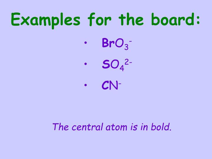 Examples for the board: