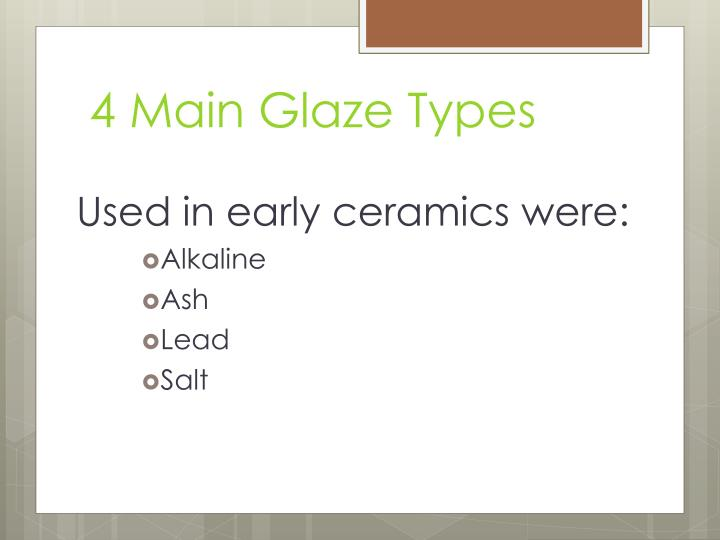 4 Main Glaze Types