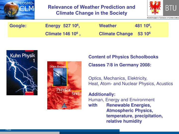 Relevance of weather prediction and climate change in the society