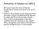 evaluation of initiative on gmo s
