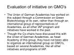 evaluation of initiative on gmo s1