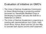 evaluation of initiative on gmo s5