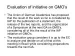evaluation of initiative on gmo s6
