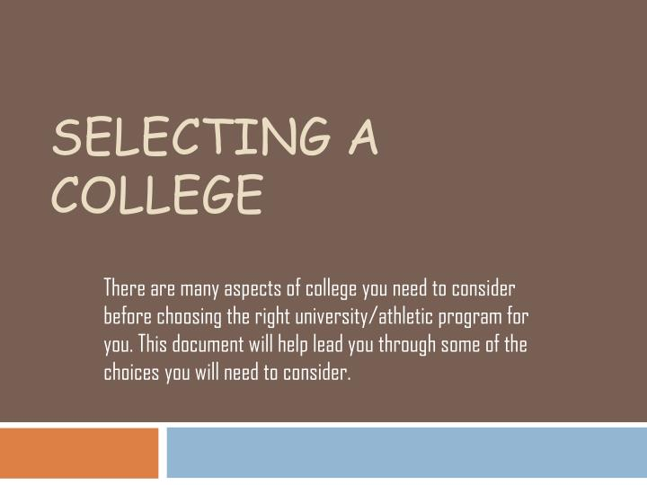 selecting a college n.