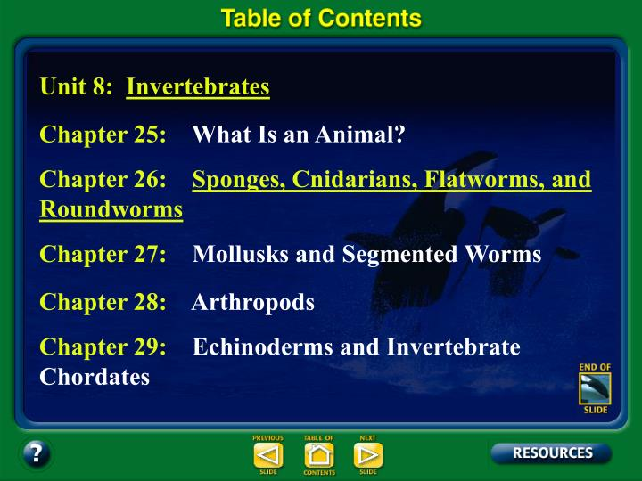 Table of Contents – pages
