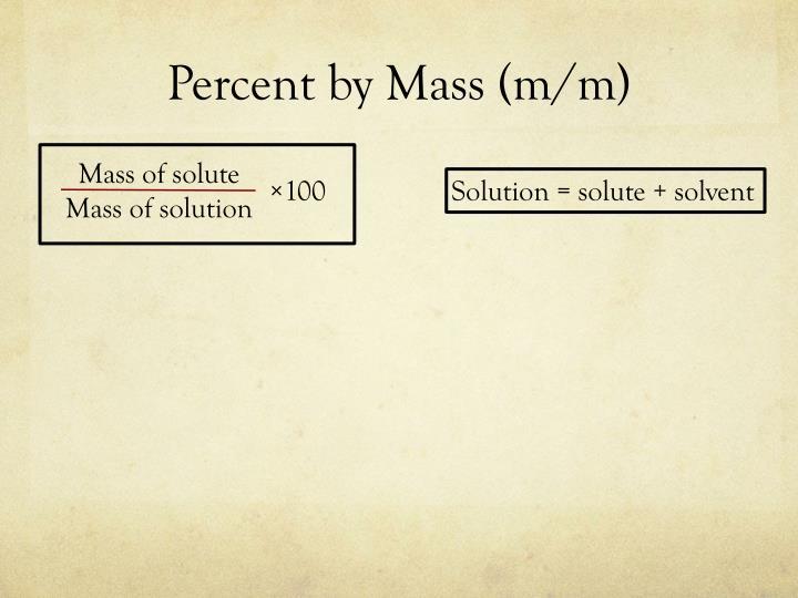 Percent by mass m m