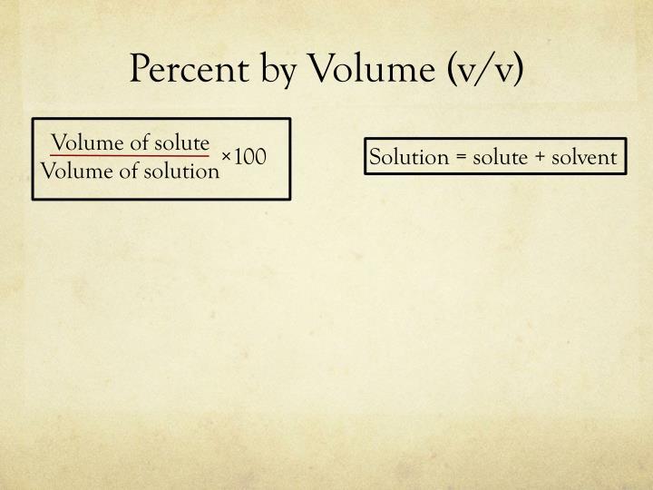 Percent by Volume (v/v)