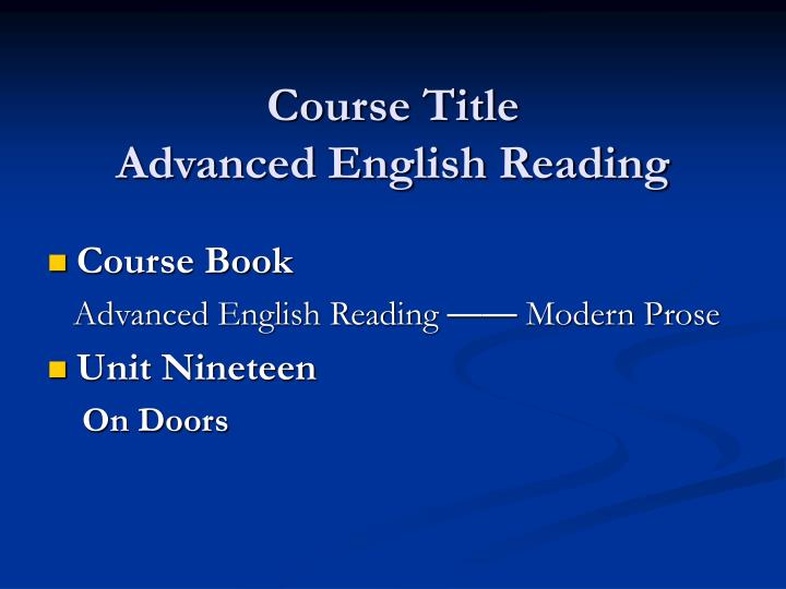 course title advanced english reading n.