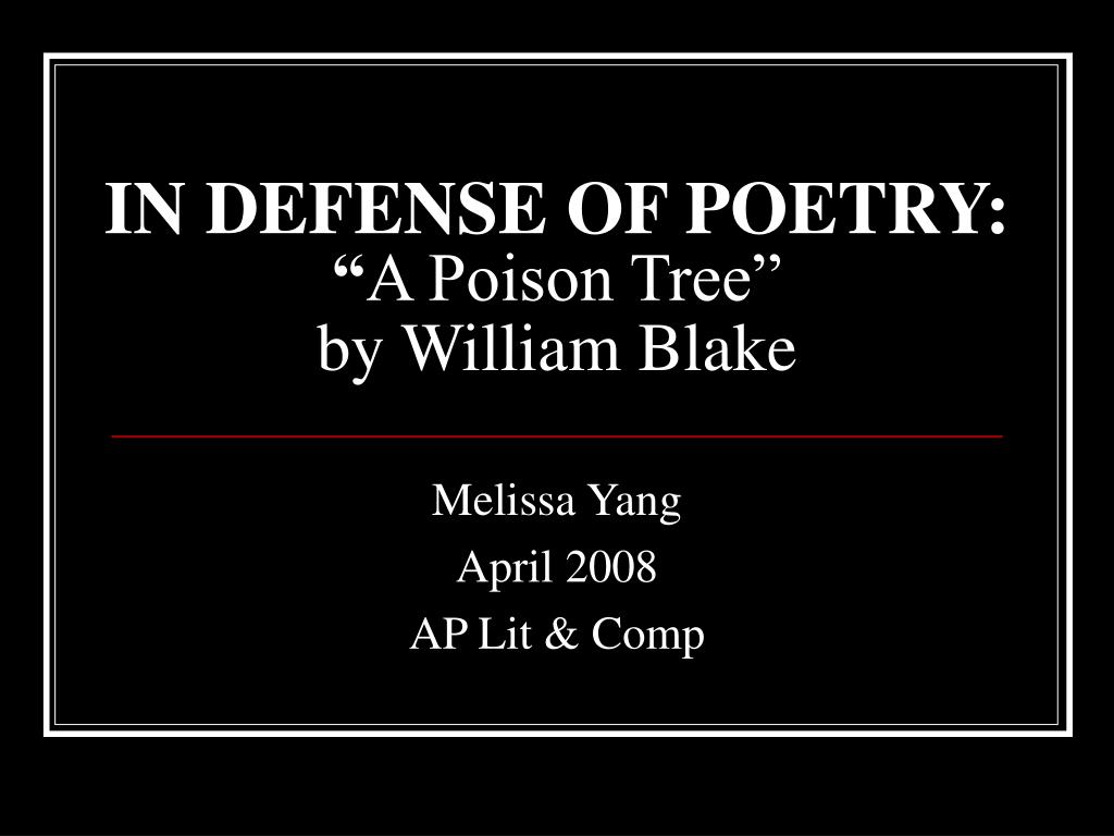 what is the tone of the poem a poison tree