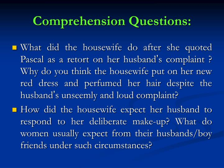 Comprehension Questions: