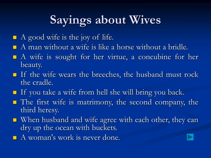 Sayings about Wives