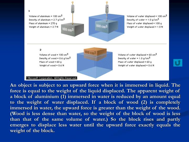 An object is subject to an upward force when it is immersed in liquid. The force is equal to the weight of the liquid displaced. The apparent weight of a block of aluminium (1) immersed in water is reduced by an amount equal to the weight of water displaced. If a block of wood (2) is completely immersed in water, the upward force is greater than the weight of the wood. (Wood is less dense than water, so the weight of the block of wood is less than that of the same volume of water.) So the block rises and partly emerges to displace less water until the upward force exactly equals the weight of the block.
