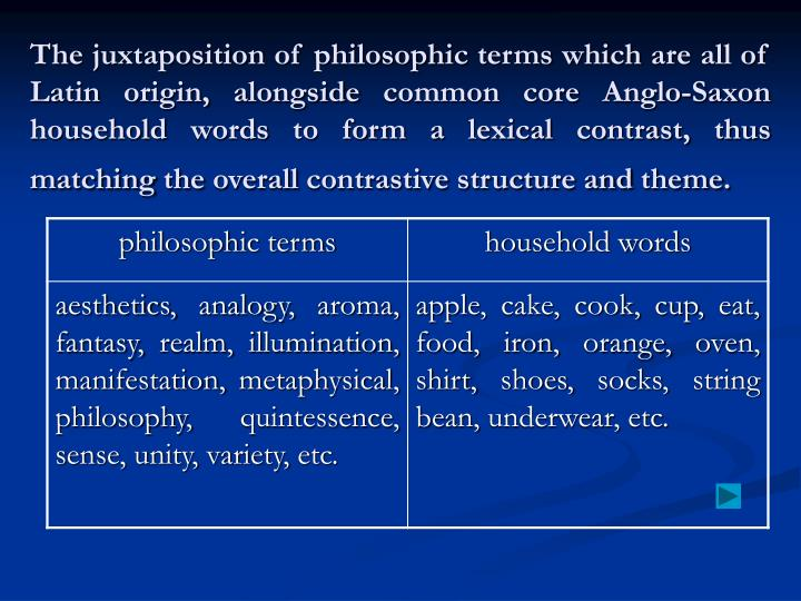 The juxtaposition of philosophic terms which are all of Latin origin, alongside common core Anglo-Saxon household words to form a lexical contrast, thus matching the overall contrastive structure and theme.