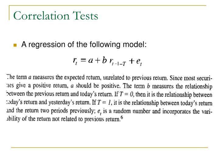 Correlation Tests