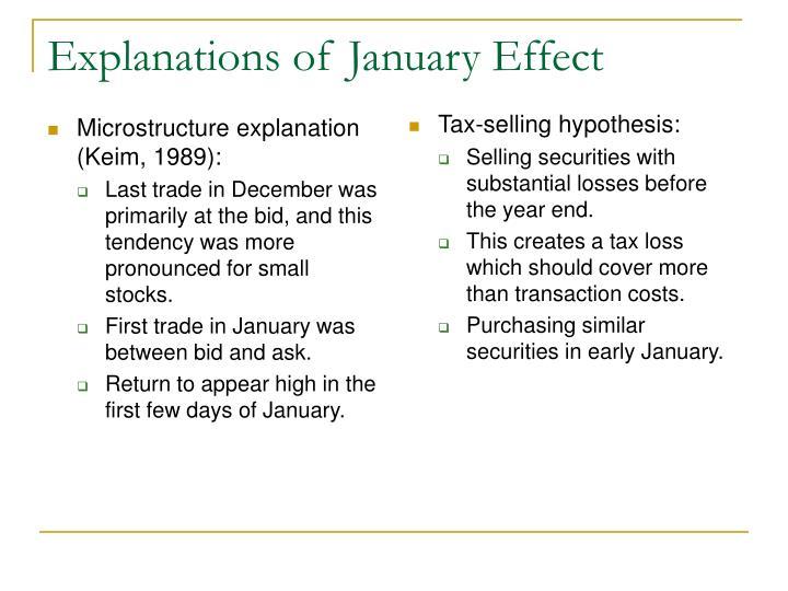 Microstructure explanation (Keim, 1989):