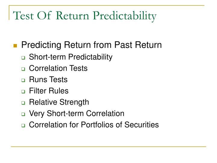 Test Of Return Predictability