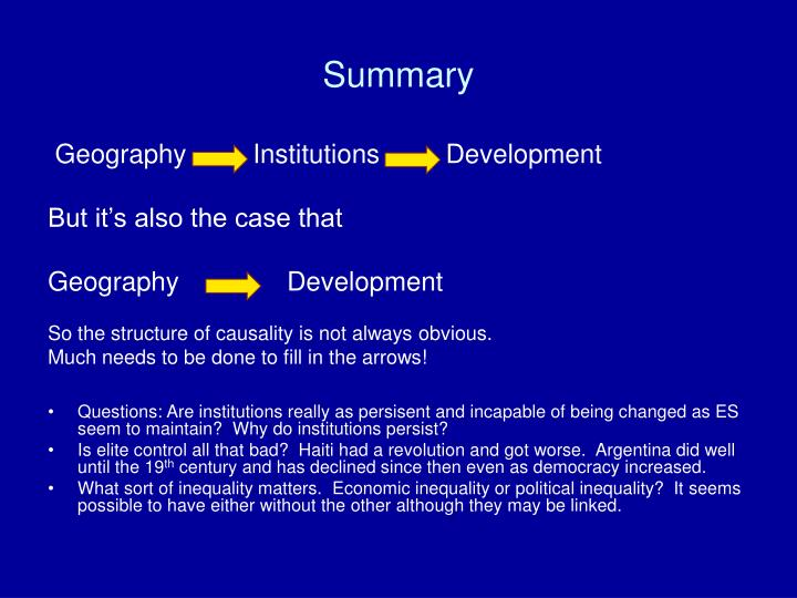 Geography         Institutions         Development