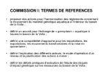commission i termes de references