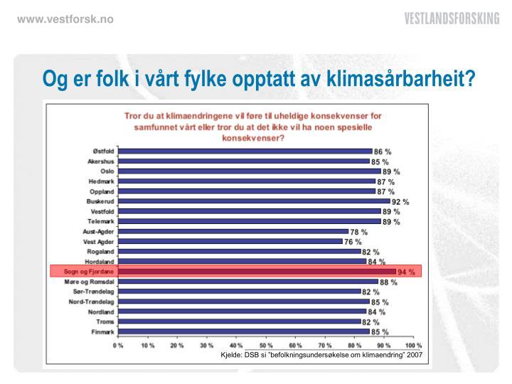 """Kjelde: DSB si """"befolkningsundersøkelse om klimaendring"""" 2007"""