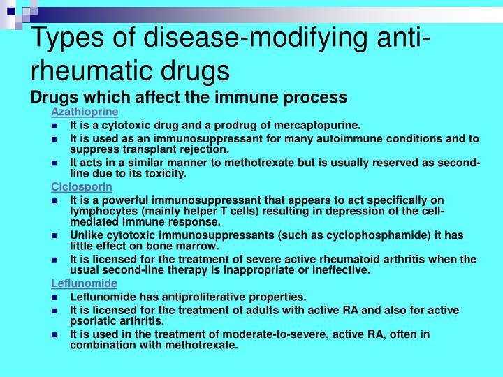 Types of disease-modifying anti-rheumatic drugs