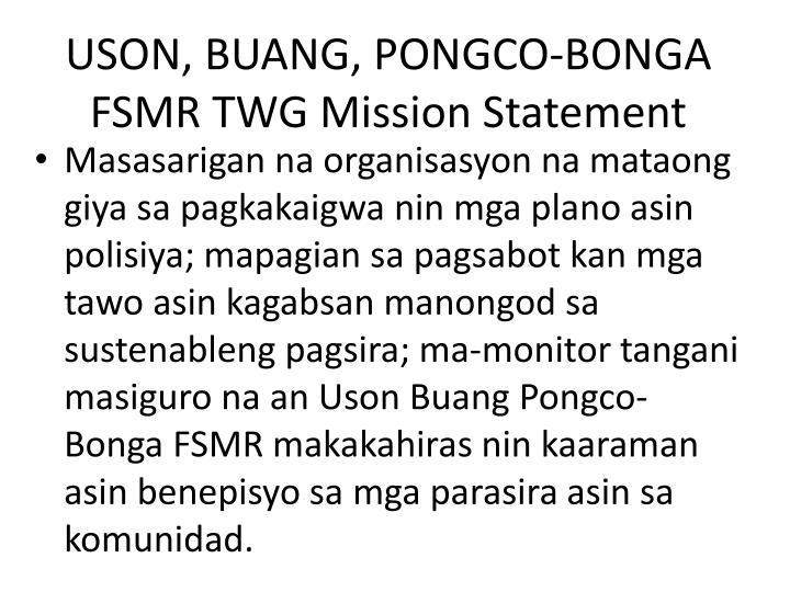 Uson buang pongco bonga fsmr twg mission statement