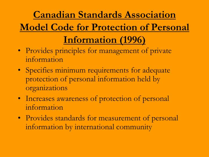 Canadian Standards Association Model Code for Protection of Personal Information (1996)