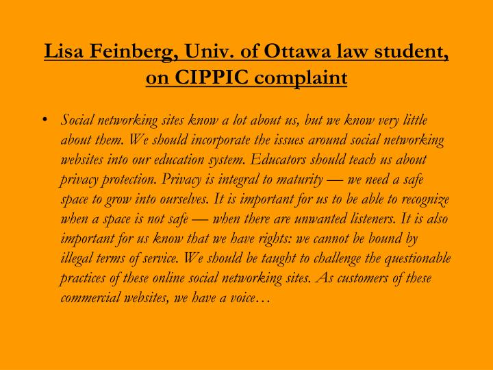 Lisa Feinberg, Univ. of Ottawa law student, on CIPPIC complaint