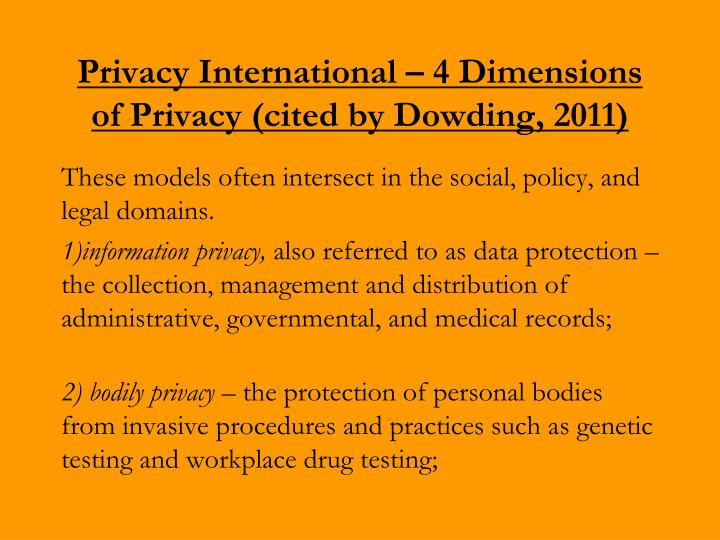 Privacy International – 4 Dimensions of Privacy (cited by Dowding, 2011)