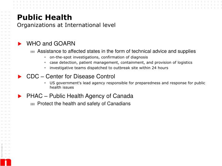 Public health organizations at international level