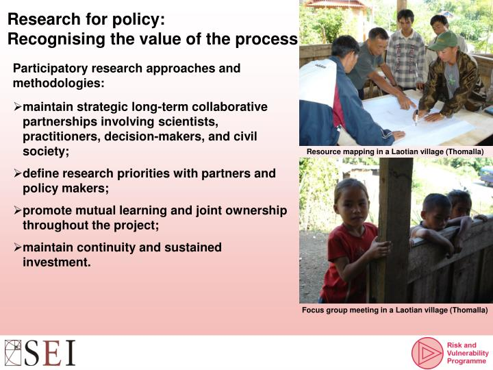 Research for policy: