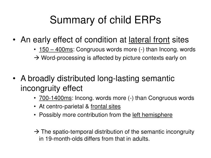 Summary of child ERPs