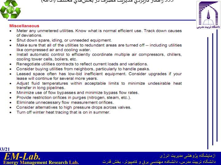 335 راهكار كاربردي مديريت مصرف در بخشهاي مختلف (ادامه)
