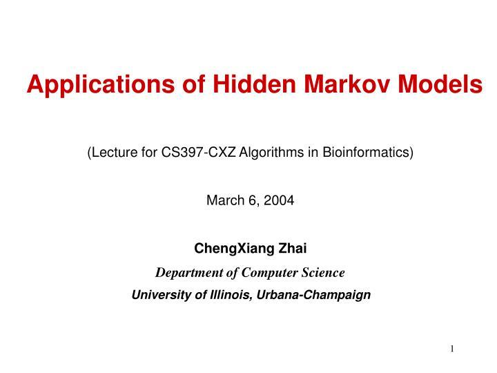 applications of hidden markov models n.