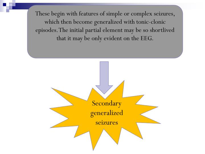 These begin with features of simple or complex seizures, which then become generalized with tonic-clonic episodes. The initial partial element may be so shortlived that it may be only evident on the EEG.