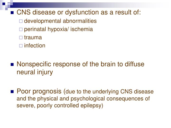 CNS disease or dysfunction as a result of: