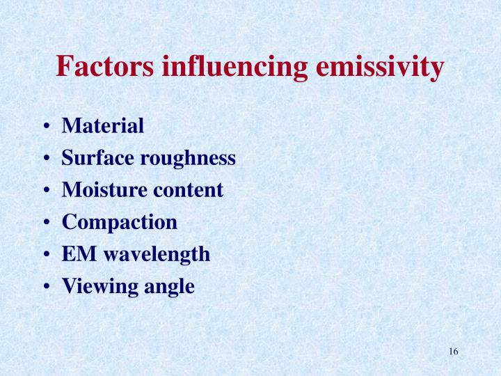 Factors influencing emissivity